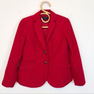 Talbots Red Wool Gold Two Button Blazer 4 Petite